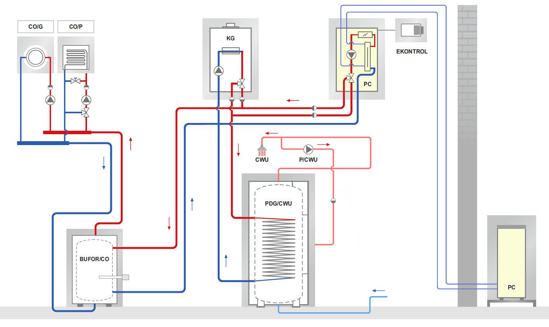 схема подключения теплового насоса Hewalex PCCO SPLIT фото